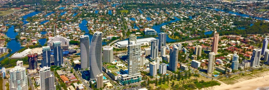 Gold Coast coastline from the seaside